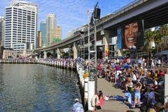 达令港在澳大利亚天,悉尼 免版税库存照片