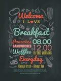 早餐咖啡馆菜单在粉笔板的设计印刷术 免版税库存照片
