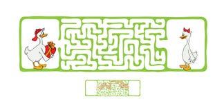 Лабиринт вектора, лабиринт с утками Стоковые Фотографии RF