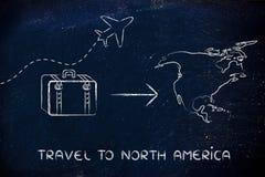 旅行业:去北美的飞机和行李 免版税库存照片