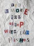 与反抽烟消息的赎金票据 免版税库存照片