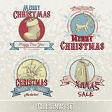 Комплект эмблем и дизайнов рождества Стоковое фото RF