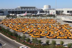 黄色出租车停车场在迈亚密国际机场佛罗里达美国 免版税库存图片