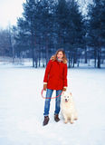冬天公园,有萨莫耶特人狗的俏丽的妇女 库存照片