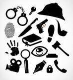 Καθορισμένη συλλογή εικονιδίων εγκλήματος ιδιωτικών αστυνομικών Στοκ Εικόνες