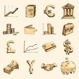 Τα εικονίδια χρηματοδότησης καθορισμένα το χρυσό σκίτσων Στοκ εικόνες με δικαίωμα ελεύθερης χρήσης