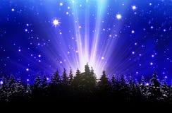Темносинее ночное небо заполненное с звездами Стоковое фото RF