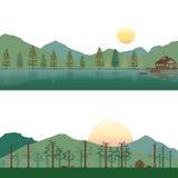 套在湖的客舱和野营在夏天和春天风景的山 免版税库存照片