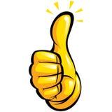 有黄色手套的手在乐趣赞许打手势 库存图片