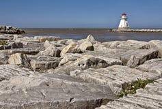 在休伦湖畔的灯塔 免版税库存图片