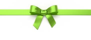 绿色丝绸弓 库存照片