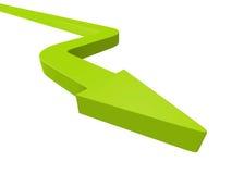 在白色背景的大绿色箭头 免版税图库摄影