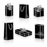 Комплект пакетов подарка силуэтов на праздники Стоковые Изображения