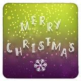 圣诞快乐紫色和绿色邀请卡片 免版税库存照片