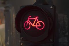 骑自行车者的红绿灯 库存照片