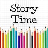 故事时间代表有想象力的文字和孩子 免版税库存图片