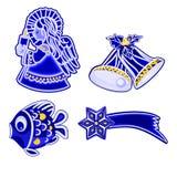 圣诞节装饰蓝色精巧彩色陶器天使响铃钓鱼和彗星传染媒介 免版税库存图片