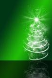 与抽象圣诞树的绿色圣诞节背景 免版税图库摄影
