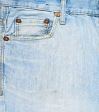 前面口袋牛仔布牛仔裤构成 免版税库存照片