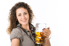 少妇用啤酒 免版税库存照片