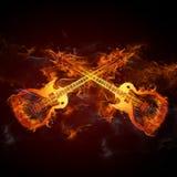 吉他火 免版税库存照片