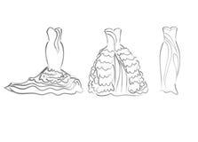 Σκιαγράφηση τέχνης των διανυσματικών καθορισμένων φορεμάτων νυφών, περιγραμματική Στοκ Φωτογραφία