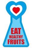 吃健康概念竞选的健康果子徽章 库存图片