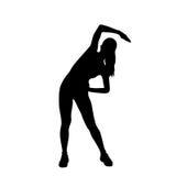 Силуэты разминки тренировки женщины фитнеса спорта Стоковые Изображения