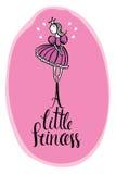 Маленькая карточка дизайна пинка принцессы Стоковые Фотографии RF