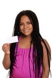 удерживание ребенка пустой карточки Стоковая Фотография RF