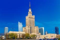 劳动人民文化宫和科学在街市华沙的市,波兰 库存照片