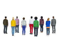 站立背面图的不同种族的人 免版税库存照片
