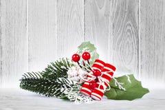 与杉木和白色背景的圣诞节构成 图库摄影