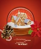 圣诞节与圣诞树的贺卡在减速火箭的样式的球形 免版税库存图片
