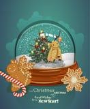 圣诞节与圣诞树的贺卡在减速火箭的样式的球形 免版税库存照片