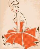 Молодой красивый представлять женщины, изолированный над белым, ретро дизайном Стоковое Изображение RF