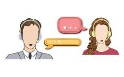 电话中心象设置了与男人和妇女耳机的 免版税库存照片