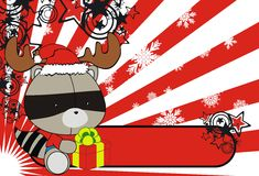 Χαριτωμένο υπόβαθρο κινούμενων σχεδίων Χριστουγέννων μωρών ρακούν Στοκ εικόνες με δικαίωμα ελεύθερης χρήσης