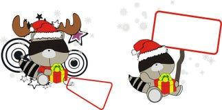 Αστείο σύνολο κινούμενων σχεδίων Χριστουγέννων μωρών ρακούν Στοκ εικόνες με δικαίωμα ελεύθερης χρήσης
