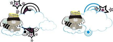 Χαριτωμένο σύννεφο κινούμενων σχεδίων αγγέλου βελούδου μωρών ρακούν Στοκ φωτογραφία με δικαίωμα ελεύθερης χρήσης
