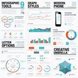 现代统计和信息图表传染媒介元素事务的 免版税图库摄影