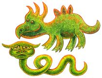 两只爬行动物-滑稽的恐龙和异常的翠青蛇与垫铁 免版税库存照片