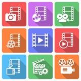 Ультрамодный пакет значка плоского фильма вектор Стоковые Фотографии RF