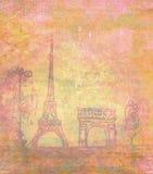 埃佛尔铁塔-葡萄酒抽象卡片 免版税库存图片
