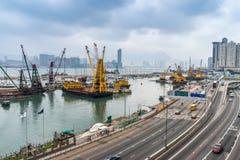 台风风雨棚在香港 免版税图库摄影