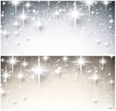 冬天满天星斗的圣诞节横幅 库存图片
