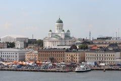 赫尔辛基市的全景 大教堂赫尔辛基 免版税库存图片