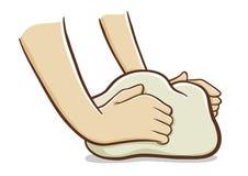 να ζυμώσει χεριών ζύμης Στοκ εικόνα με δικαίωμα ελεύθερης χρήσης