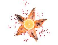 五只新鲜的煮沸的虾 库存图片