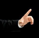 Кавказская мужская рука в изолированном деловом костюме Стоковое Фото